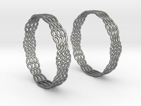 Wired Beauty 2 Hoop Earrings 50mm in Natural Silver