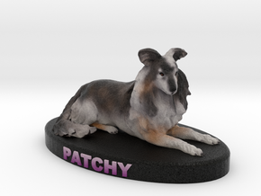 Custom Dog Figurine - Patchy in Full Color Sandstone