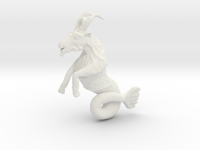 Capricorn Pendant - 2.6cm in White Natural Versatile Plastic