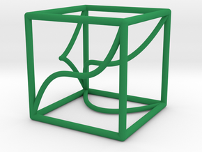 Space Curve and Projections, with Cusp in Green Processed Versatile Plastic