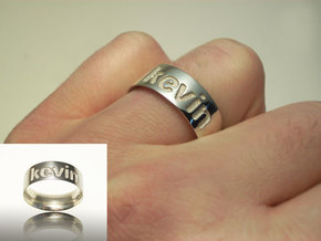 Personalized silver ring in Polished Silver