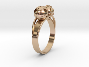 Diam=17. Bague Toi Et Moi. Ring Duo Sphere. in 14k Rose Gold