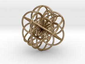 Cuboctahedral Flower of Live Circles - Sacred Geom in Polished Gold Steel