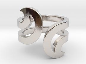 Opposite Waves Ring in Platinum