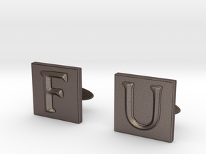 Frank Underwood Cufflinks  in Polished Bronzed Silver Steel