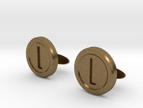 Mario Coin Cufflinks in Natural Bronze