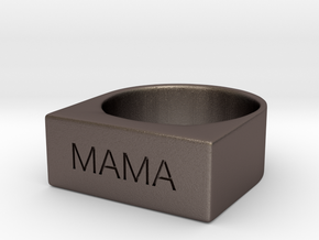 Mama Engraved Size 7 in Polished Bronzed Silver Steel