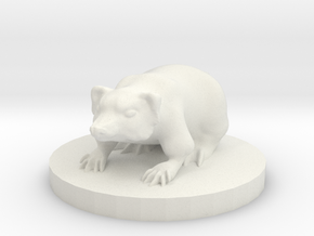 Small Badger Miniature in White Natural Versatile Plastic