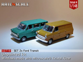 SET 2x Ford Transit (British N 1:148) in Smooth Fine Detail Plastic