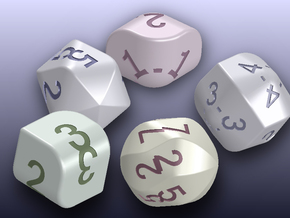 set of dice with convex faces (card digits) in White Processed Versatile Plastic