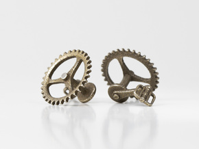 Bicycle Chainring Cufflinks in Polished Bronzed Silver Steel