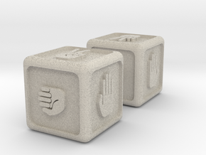 Rock-Paper-Scissors Dice in Natural Sandstone