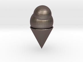 Ice Cream Cone in Polished Bronzed Silver Steel