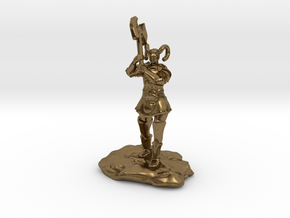 Tiefling Paladin Mini in Plate with Great Axe in Natural Bronze