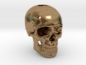 25mm 1in Keychain Bead Human Skull in Natural Brass