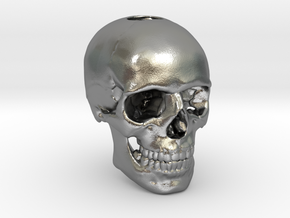 25mm 1in Keychain Bead Human Skull in Natural Silver