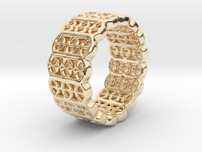 Grid Ring - EU Size 58 in 14K Yellow Gold