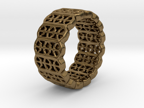 Grid Ring - EU Size 58 in Natural Bronze