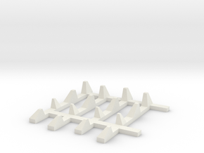 1-87 Scale Dragon Teeth Road Barrier Expansion in White Natural Versatile Plastic