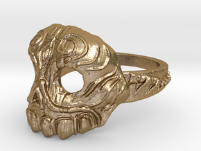 Dr.K Skull Ring-Size 9.5 in Polished Gold Steel