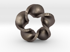 Five Twist Mobius in Polished Bronzed Silver Steel