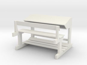 Bange (Albanian school desk) - 1:100 in White Natural Versatile Plastic