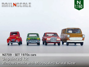 SET 4x 1970s cars (set A) in Smooth Fine Detail Plastic