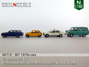 SET 4x 1970s cars (set B) in Smooth Fine Detail Plastic