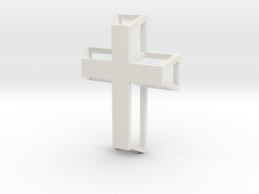 3D Framed Cross Pendant in White Natural Versatile Plastic