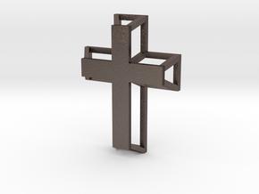 3D Framed Cross Pendant in Polished Bronzed Silver Steel