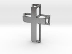 3D Framed Cross Pendant in Natural Silver