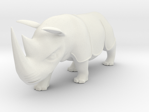 Rhinoceros Statue in White Natural Versatile Plastic