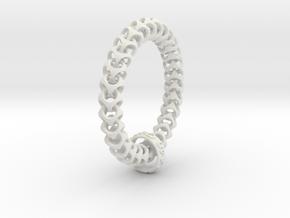 Cubichain Bracelet (Multiple sizes) in White Natural Versatile Plastic: Large