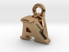 3D Monogram Pendant - AVF1 in Polished Brass