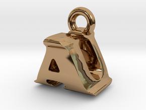 3D Monogram Pendant - AUF1 in Polished Brass