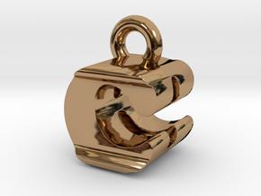 3D Monogram Pendant - CBF1 in Polished Brass