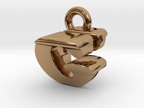 3D Monogram Pendant - GVF1 in Polished Brass