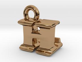 3D Monogram Pendant - HLF1 in Polished Brass