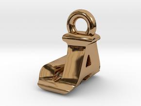 3D Monogram Pendant - JAF1 in Polished Brass