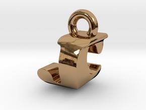 3D Monogram Pendant - JCF1 in Polished Brass