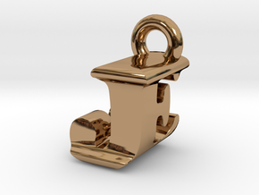 3D Monogram Pendant - JEF1 in Polished Brass