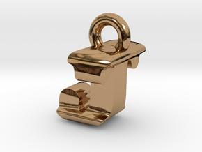 3D Monogram Pendant - JTF1 in Polished Brass