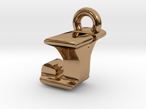 3D Monogram Pendant - JYF1 in Polished Brass