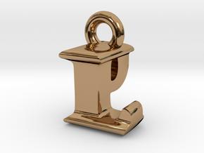 3D Monogram Pendant - LPF1 in Polished Brass