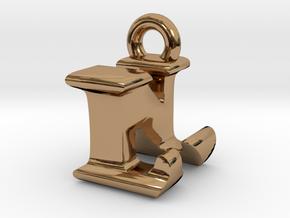 3D Monogram Pendant - LNF1 in Polished Brass