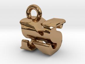 3D Monogram Pendant - NSF1 in Polished Brass