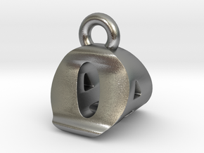 3D Monogram Pendant - OAF1 in Natural Silver