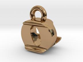 3D Monogram Pendant - OLF1 in Polished Brass