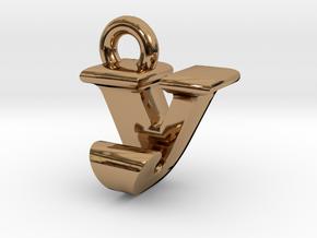 3D Monogram - VJF1 in Polished Brass