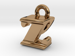 3D Monogram - ZPF1 in Polished Brass